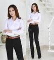 Novo 2015 Outono Inverno Blusas Formais Ternos Blusas Com Calças para o Office Lady Trabalho Desgaste Uniformes de Estilo Conjunto de Roupas Mais tamanho