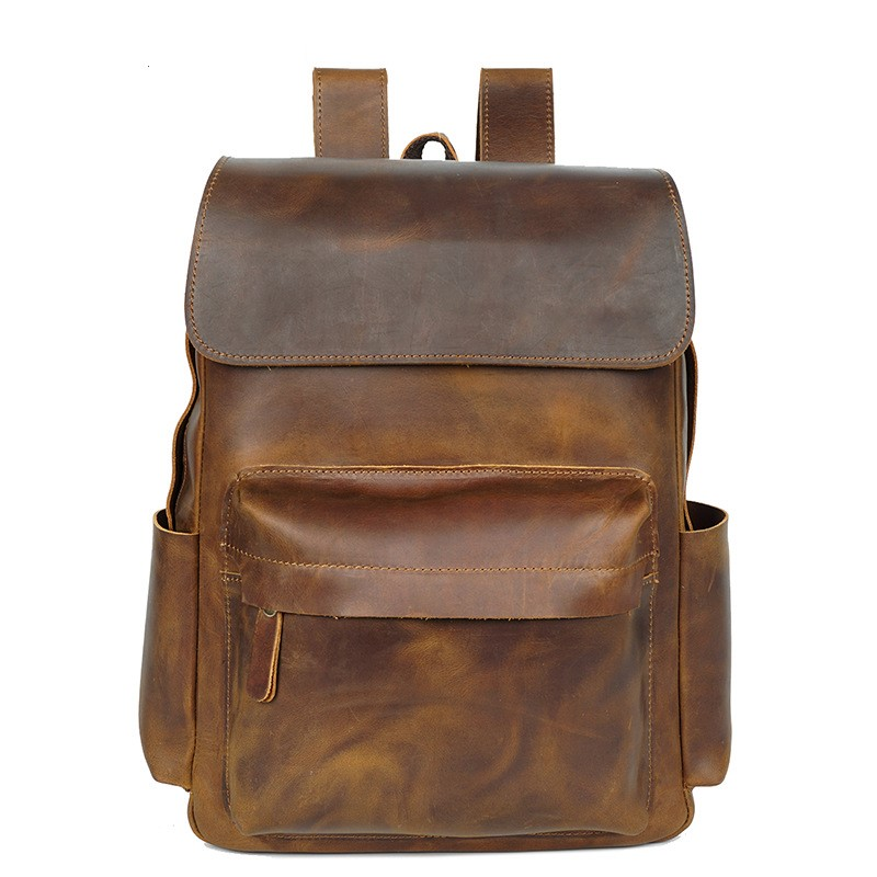 Vintage Genuine Leather Men Backpack Fashion Crazy Horse Leather Waterproof Women Backpacks Cow Leather Backpack bolsa masculina цена 2017