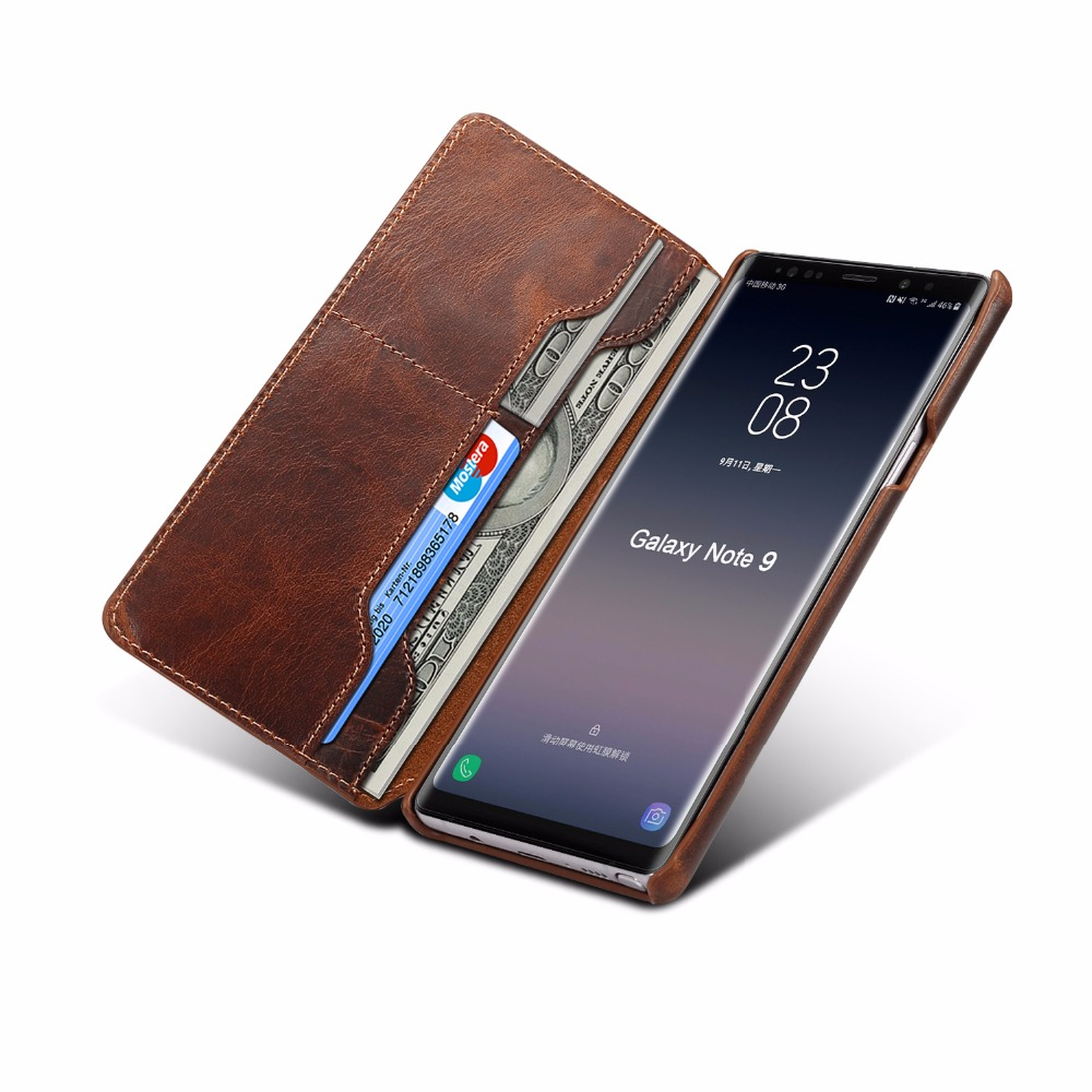 Business Note9 case wallet Luxury Real Genuine Leather