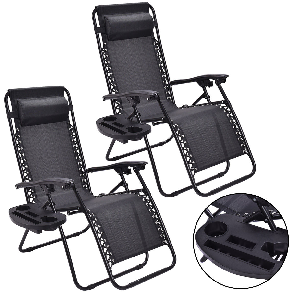 Portable Recliner Chair Giantex 2pc Zero Gravity Chairs Lounge Patio Folding