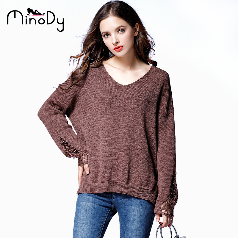 eab4682ce22 Minody Autumn Winter Spring Plus Size Women Sweaters and Pullovers Khaki  Red Brown V Neck Loose Casual Sweaters Female Xxxl 4xl