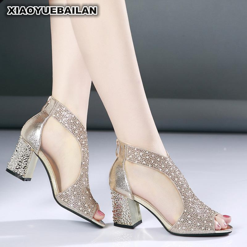 2018 Spring And Summer New Rough Heel Female Sandals High Fish Mouth Shoe Water Drill Pure Fashion Sandal For Women 7