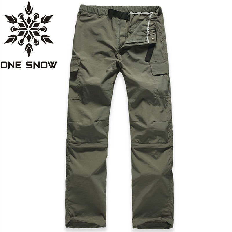 ONE SNOW Summer Thin Breathable Quick Dry Pants Men Removable Outdoor Sports Waterproof Trousers Hiking Camping