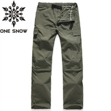ONE SNOW  Summer Thin Breathable Quick Dry Pants Men,Removable Outdoor Sports Waterproof Trousers,Hiking Camping Climbing Pants