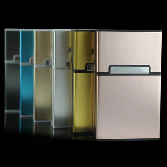1pc  Tobacco Holder Pocket Box Storage Container 20 Cigar Cigarette Case Lighter Aluminum Metal Best Friend Magnetic Buckle