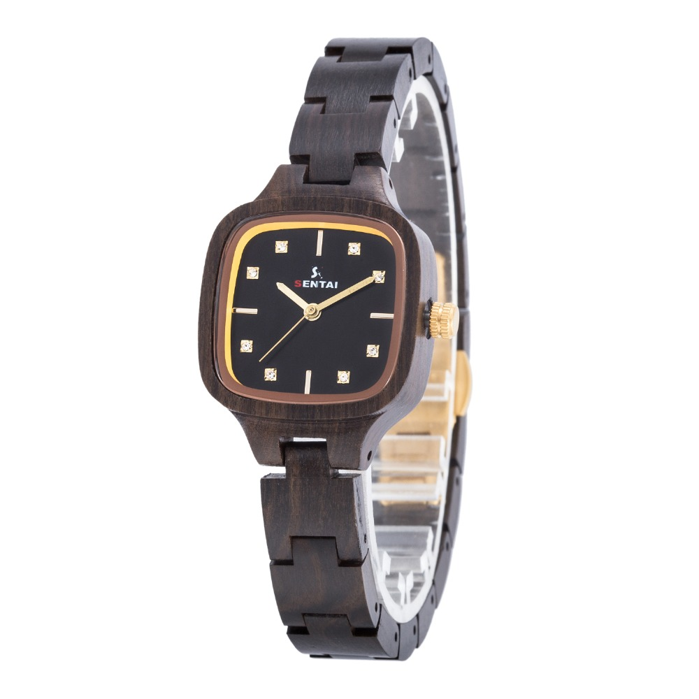 SENTAI Brand Wooden Watch For Women Ebony Wood Womens Sandalwood Wrist Watch With Crystals Black Face Vintage Wood Watches G013 luxury fashion women s watches sentai brand handmade wooden women quartz watch wood case retro wrist watch valentine s day gifts