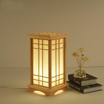 Напольная Лампа из цельного дерева, настольная лампа для глаз, художественная гостиная, отель, татами, подставка для спальни, прикроватная н...