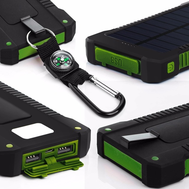 Solar Power Bank Dual USB Battery Charger With a Compass LED light