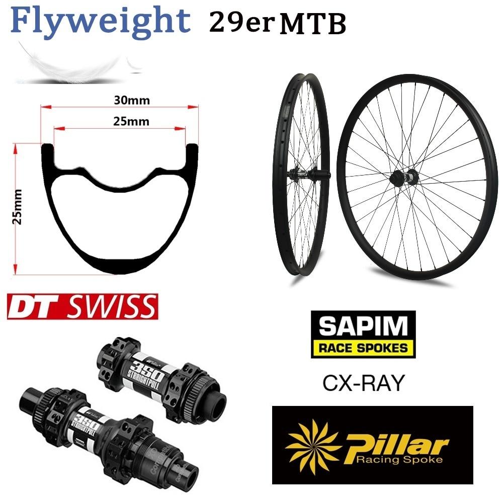 все цены на 345g Only 29er MTB Carbon Rim with Original DT swiss 350 hub Sapim CX Ray For Mountain Bike Wheel XC Wheelset 30mm Width онлайн