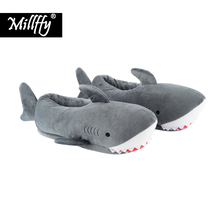 Millffy unisex Fuzzy Winter Slippers Animated Shark Plush