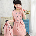 Child Casual Clothing Sets Kid Girls Korean Clothes Sets Child's Dot Dress + Coats Set Teenagers Long-Sleeve Dress + Coat 2 Suit