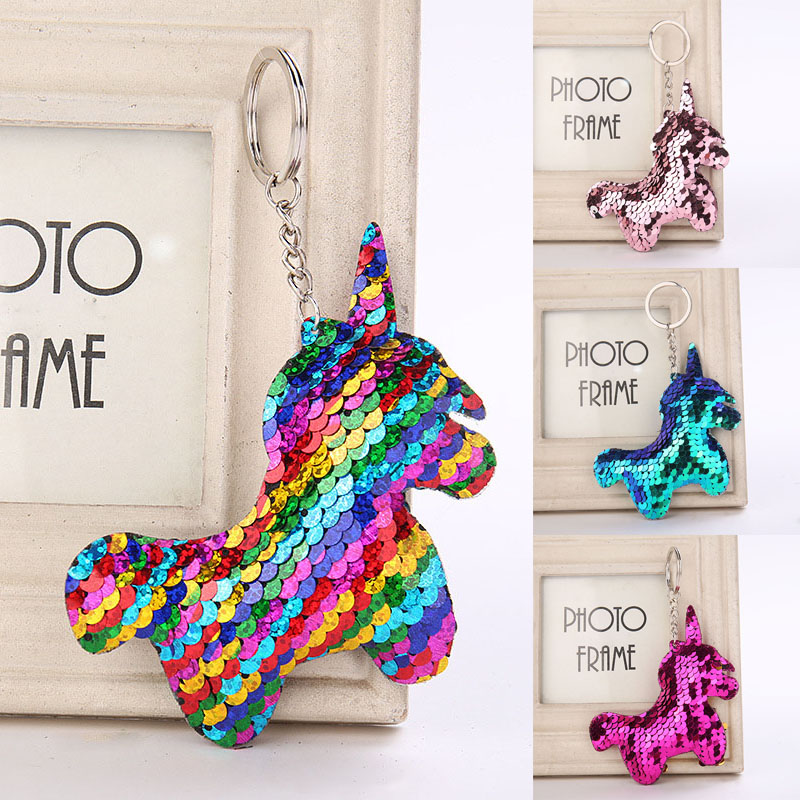 Sequin Unicorn Keychain Colorful Stuffed Animals Unicorn Toy Mini Doll Toys For Children Kids Girls Doll Gifts in Stuffed Plush Animals from Toys Hobbies