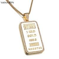 VANAXIN Sample Coin Credit Suisse Bullion Bar Ingot Badge Pendants Necklace For Men Hip Hop Brass Jewelry Gold/Silver Color