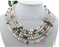 Hot selling free shipping****** 100 8mm white black pink freshwater pearl necklace