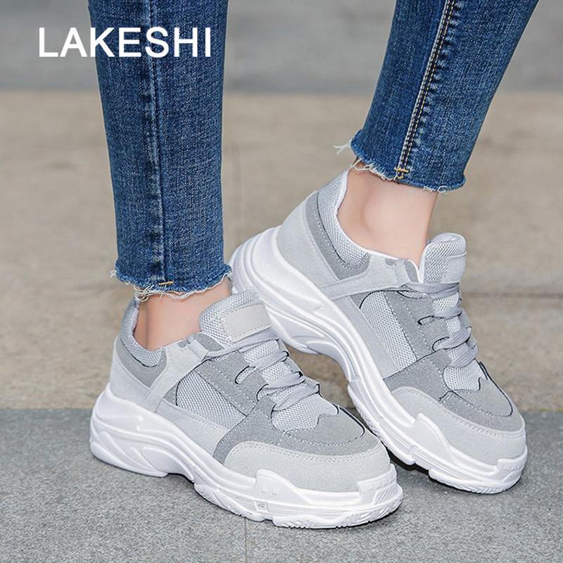 LAKESHI New Autumn Casual Shoes For Woman Fashion Lace Up Platform Creepers Female Breathable Flats Women Shoes White Sneakers women creepers shoes 2015 summer breathable white gauze hollow platform shoes women fashion sandals x525 50