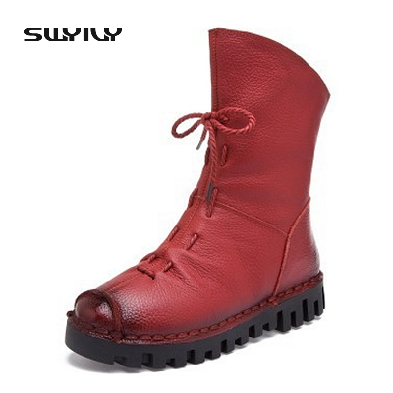 Genuine Leather Women Winter Ankle Boots Warm Short Plush Fashion Sewing High Quality Women Snow Boots Rubber Sole Female Shoes