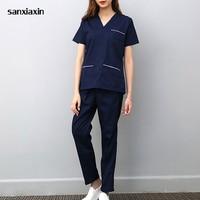 Sanxiaxin spa uniform hospital medical scrub clothes set dental clinic and beauty salon nurse uniform Fashion Slim Fit surgical