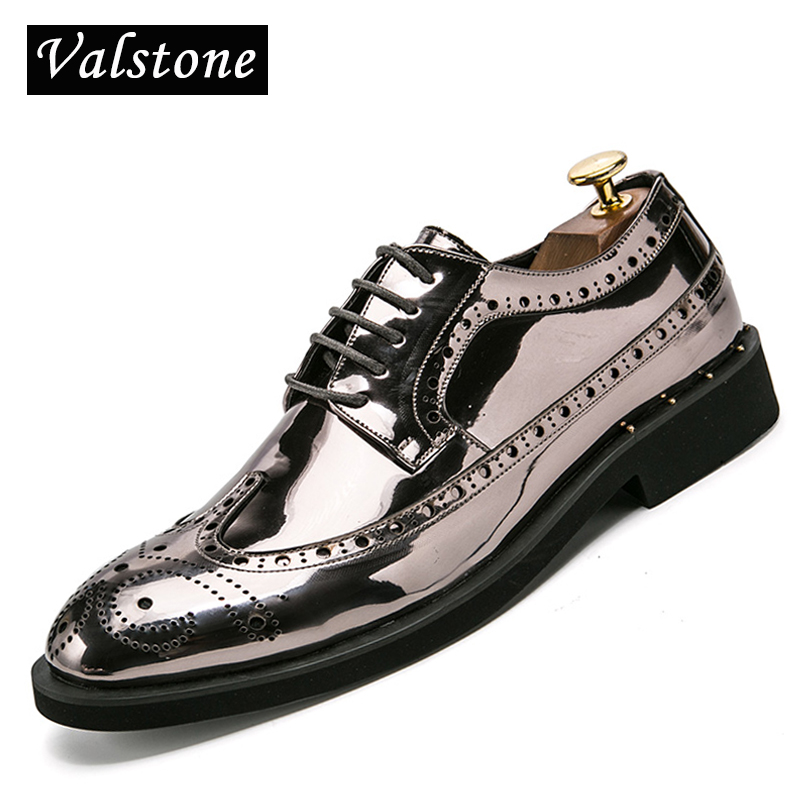 Valstone Casual Leather Shoes Men superstar Brogues formal leather shoes oxford gold shoes lace-up hombres silver large size 46