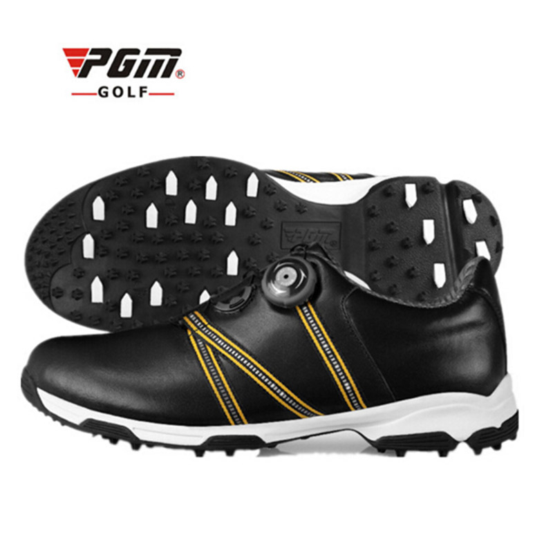 Men Black Golf Shoes Genuine Leather Sport Shoes Men Sneakers Waterproof Golf Shoes For Men Plus Size Professional Golf Shoes pgm men golf shoes breathable athletic sneaker plus size 39 46 mesh sport shoes pu waterproof professional golf shoes for men