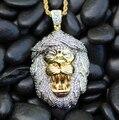 2017 moda hip hop de la joyería 24 k gold lion colgante collar micro pave cz cadena de oro para los hombres