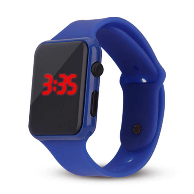 2018 new hot Square Mirror Face Silicone Band Digital Watch Red LED Watches Metal frame WristWatch Sport Clock Hours 4coloR