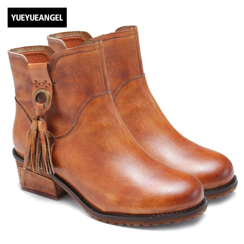 Vintage Genuine Leather Female Boots 2018 New Fashion Round Toe Tassel Ladies Shoes Comfortable Block Chunky Heel Ankle Boots british england style stylish men boots natural leather round toe chunky heel male ankle booties comfortable new mans shoes