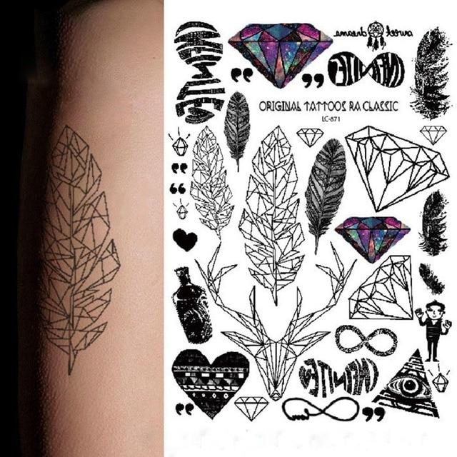 1 Pc Hot Sprzedaż Wodoodporna Tymczasowa Tatuaż Tęczy Pióro Diament