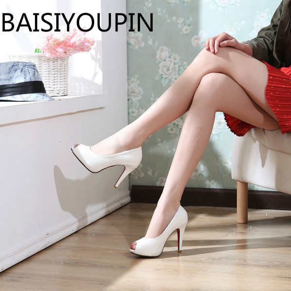 9848e772b 2018 Women Sexy High Heels Shoes Ladies Fish Mouth Pumps Paltform Red Bottom  White Shoes Professional Small Big Size 31 32 42 43