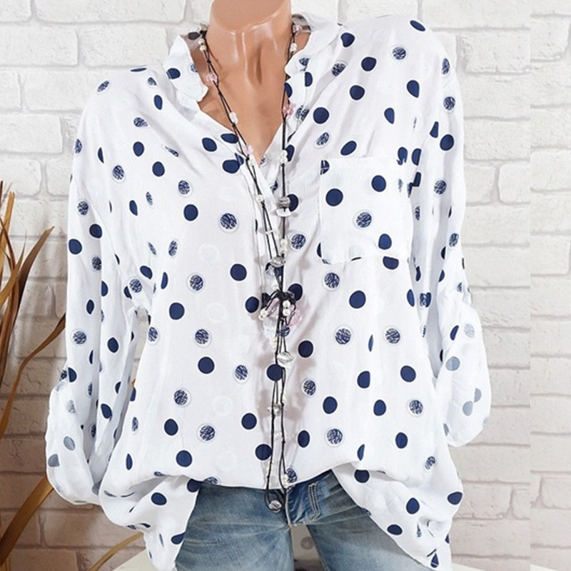 2018 Autumn New Women Long Sleeve Polka Dot Pringting Chiffon Loose   Blouses     Shirts   5XL Plus Size Casual   Shirts   Blusas