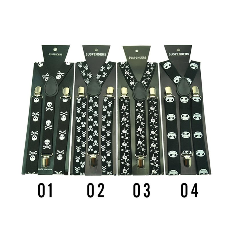 Women Men`s Unisex Clip-on Braces 1inch Wide 25 Design White Skull Mix Elastic Slim Suspender Y-back Suspenders Wholesale&Retail