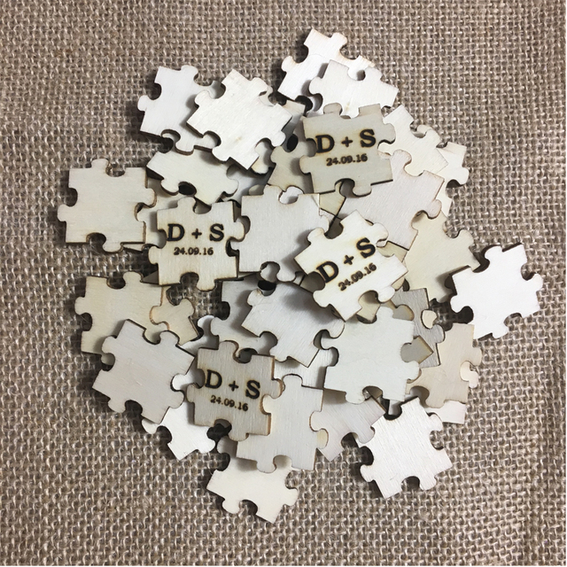 Personalized Puzzle Piece Laser Engraved Wood Puzzle For Guest Book ...