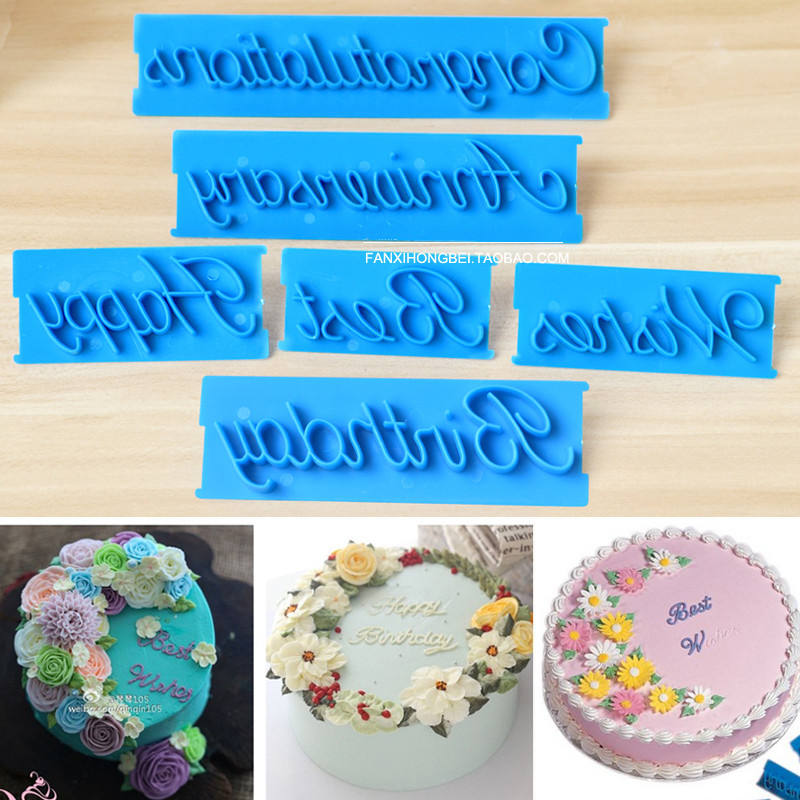 Happy Kitchen Decoration Cake: Happy Birthday Cake Decoration Tools Plastic Best Wishes Fondant Molds Kitchen Cookie Biscuit