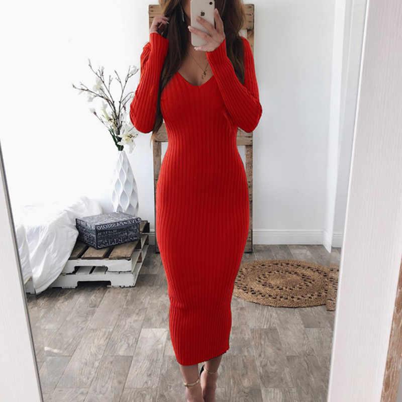 2019 осеннее трикотажное облегающее платье макси, сексуальное платье с v-образным вырезом и длинным рукавом, женское Элегантное зимнее облегающее модное тонкое длинное платье Vestido