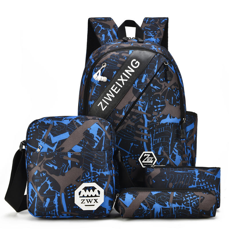 4pcs Waterproof Camouflage Boys School Bags Capacity Backpack For Teenagers Student Blue Book Bag Men School Backpack Women