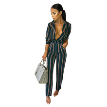 2019 New Sexy Bodysuit Printed Striped Long-sleeved Lace Pocket Women's Jumpsuit Sexy Costume Rompers Womens Jumpsuit Streetwear