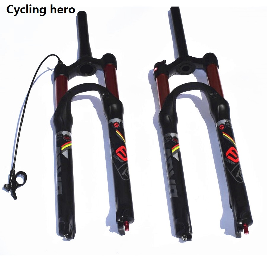 MTB Air Buffer Suspension Mountain Bike Fork Bicycle Plug 1710g 9x100mmQR Double Air Bounce Adjustment 26 27.5 29 Inch 100 120MM