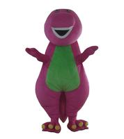 High quality Adult Barney Cartoon Mascot Costumes on Adult Size Free Shipping