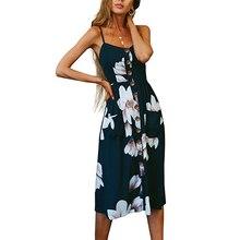 Sexy Floral Long Dress Sleeveless Casual Party Beach Dresses Sundress Sling Open Back For Women Female Summer Vestido