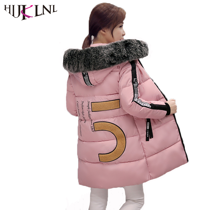 HIJKLNL Winter Jacket Women 2017 Long Thick Warm Cotton Jacket Female Winter Coats Hooded Fur Collar Padded Parka Mujer NA437 2017 sliver winter jacket women coat hooded warm jacket coats female thick down jacket basic short coats outwears parka mujer