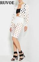 New 2 Pcs Set Club Dress 2017 Women Summer White Hollow Out Mini Dresses Sexy Elegant