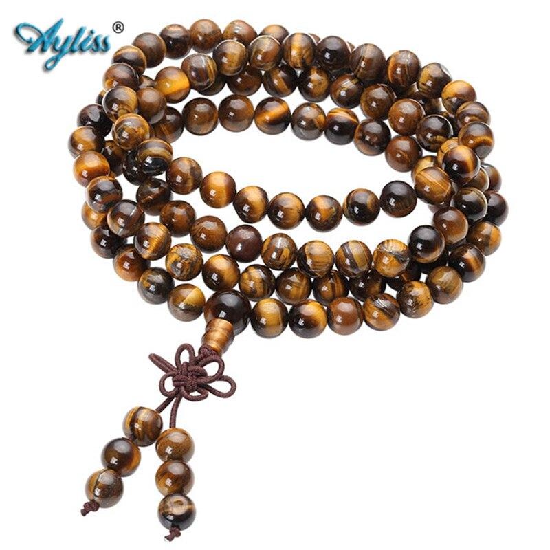 Ayliss 108 Tibétain Bouddhiste Mala Naturel Tiger Eye Gem Pierre Perle Double-utilisation Collier Bracelet Enveloppé Bois Prière pour la méditation