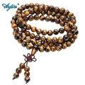 Ayliss 108 tibetano budista Mala Natural Ojo de Tigre piedra de GEMA de doble uso collar pulsera envuelto de oración para la meditación