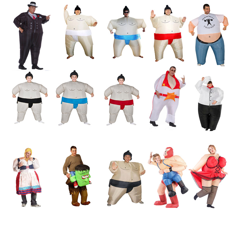Purim Inflatable Sumo Costume Suits Wrestler Halloween Chef Costume for Boys Girl Men Women Adults Kids Fat Man Airblown Sumo