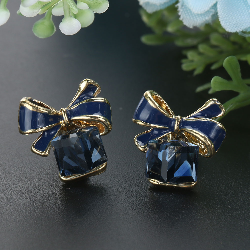 Bowknot Cubic Rubik Cube Crystal Anti Allergic Ear Stud Made by environmental friendly Material Earring