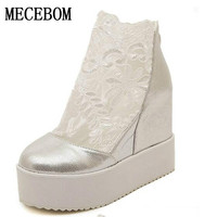Fashion Sweet Lace Roman Shoes Women Wedge Heels White Platform Pumps High Heels Sandals zapatos plataforma mujer 34-39 9995W