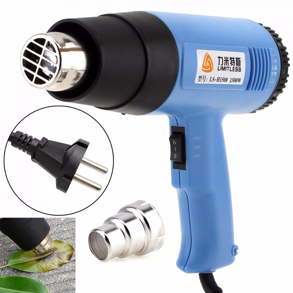 High Quality AC220V EU Plug 1500W Adjustable Temperature Electric Heat Gun Multifunctional Handheld Hotair Gun