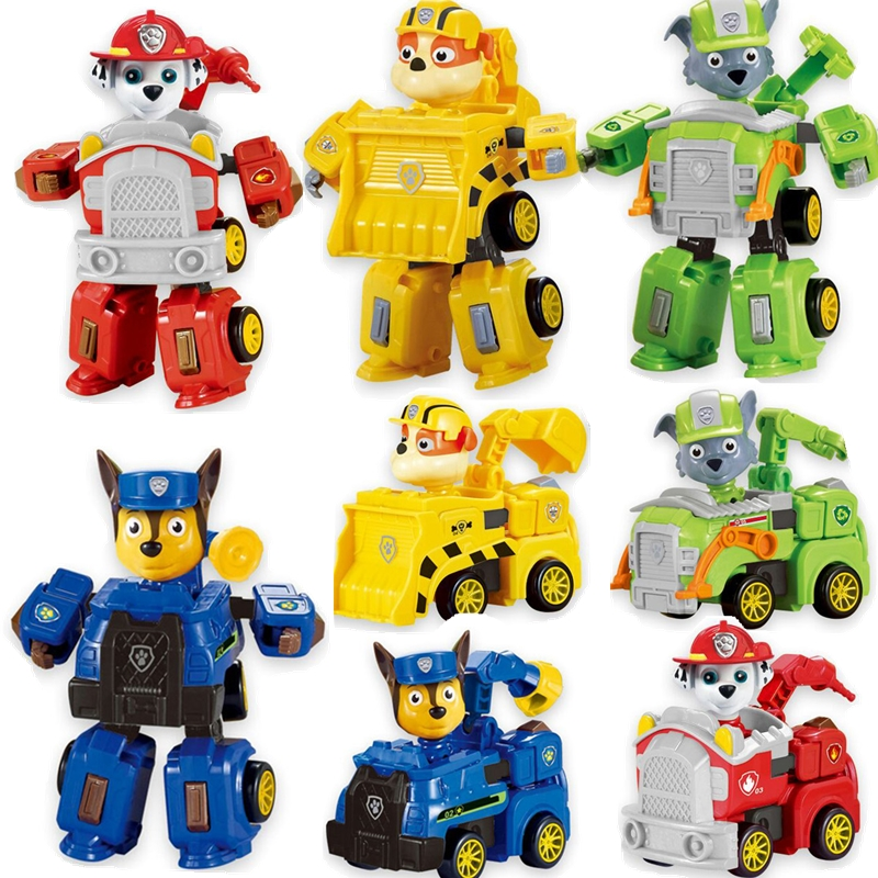 US $8 27 31% OFF|Paw Patrol Toy Deformation robot Car deformed Chase Robot  dog Ryder Action Figure Anime Figure PVC Model Toy for Children Gift-in