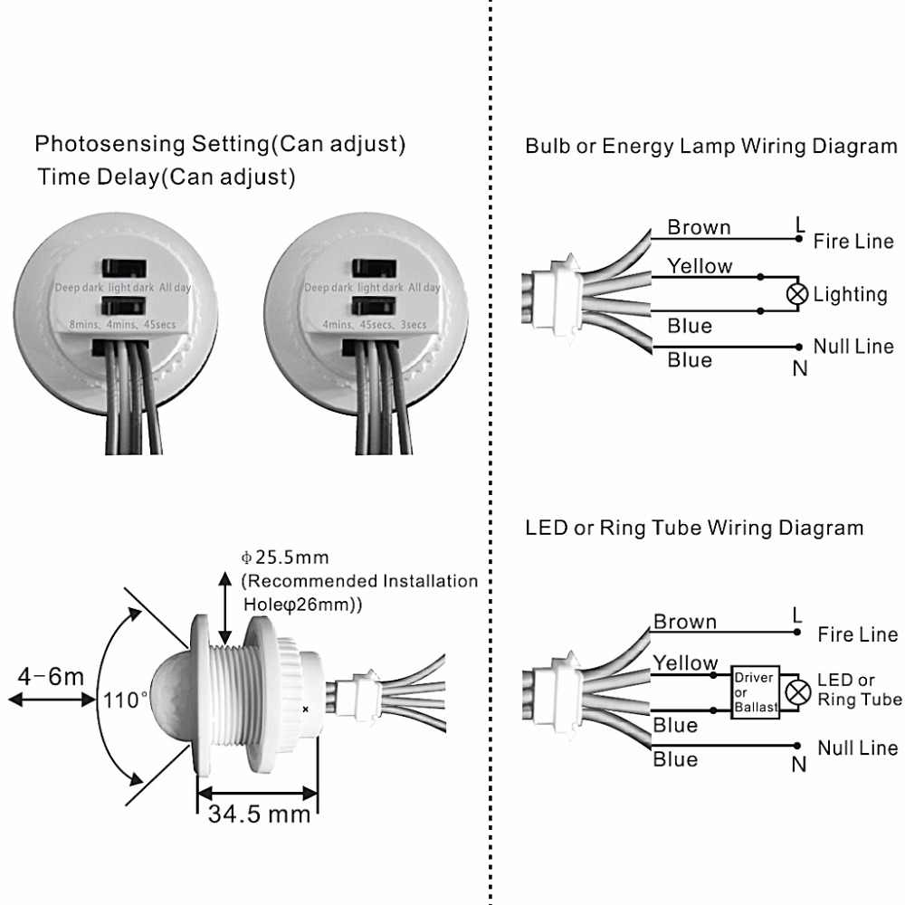 220v pir motion sensor switch on off ir infrared human body indction sensor light control  [ 1000 x 1000 Pixel ]