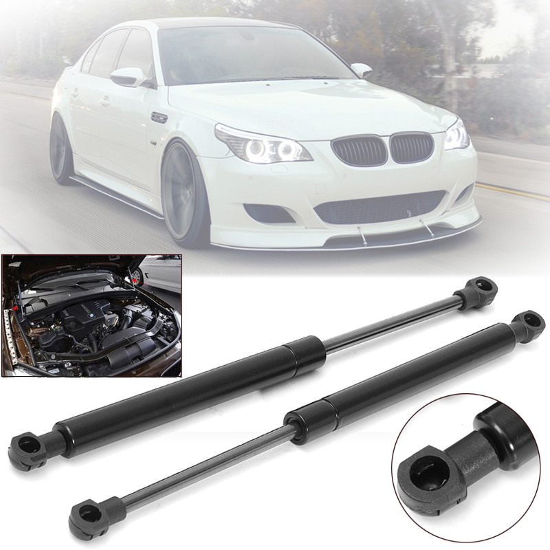 Set Hood Lift 2Pcs Bonnet Black Accessories For BMW E60 E61 525i 528i 530i
