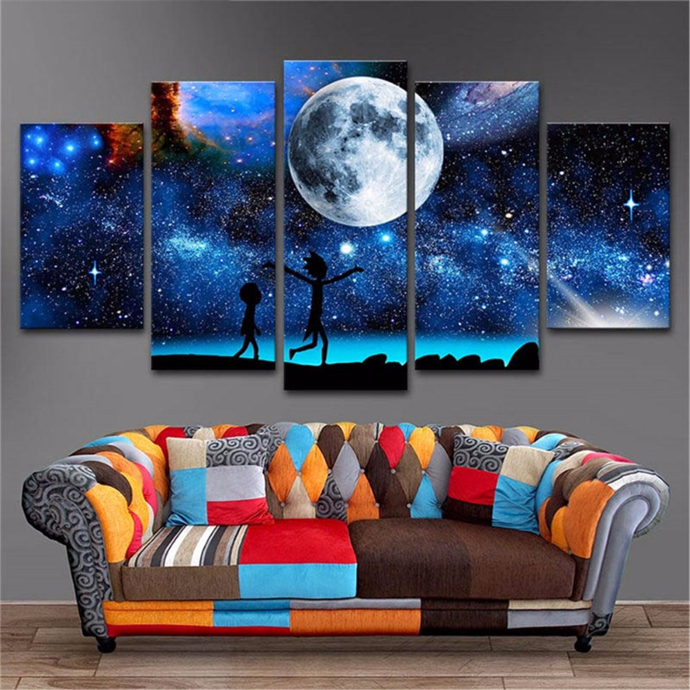 5 Panels Waterproof Canvas Painting Starry Universe Rick